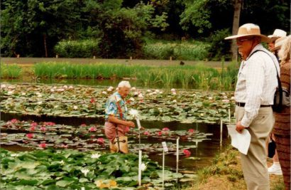 1995 Perry in the water at Perry's Water Gardens, Kirk looking on