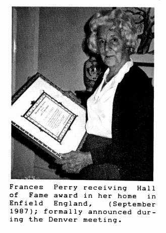 Frances Perry receiving Hall of Fame award
